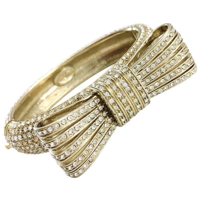 1980s Valentino  Gilt Diamanté Bow Bracelet For Sale