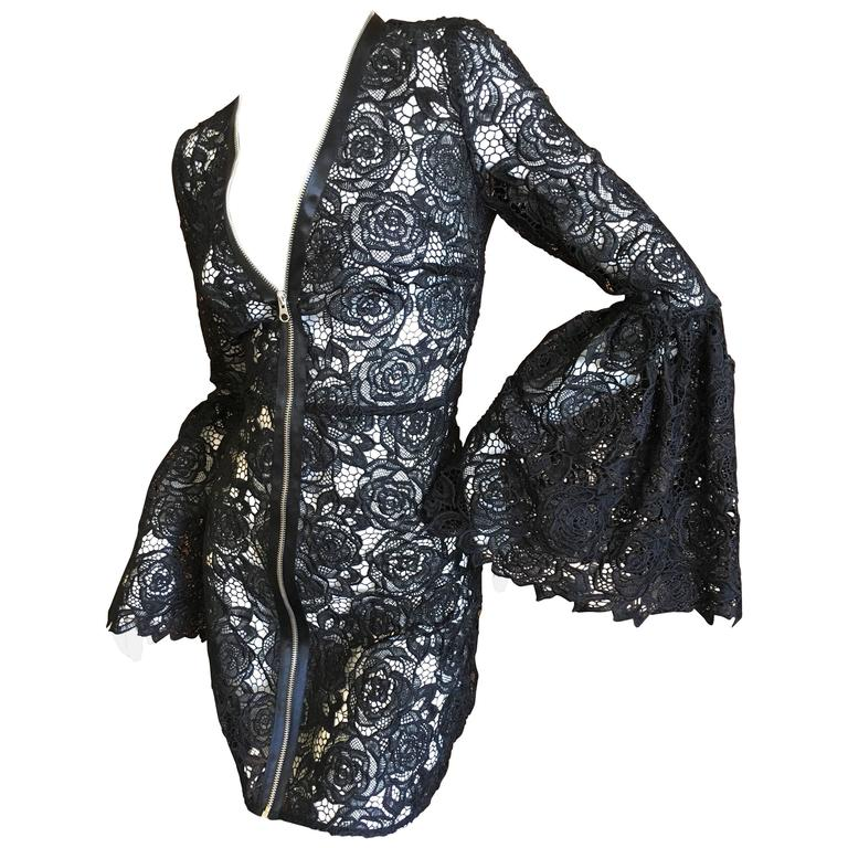 Mc Q Alexander McQueen Black Lace Bell Sleeve Dress 1