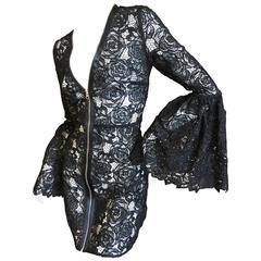 Mc Q Alexander McQueen Black Lace Bell Sleeve Dress