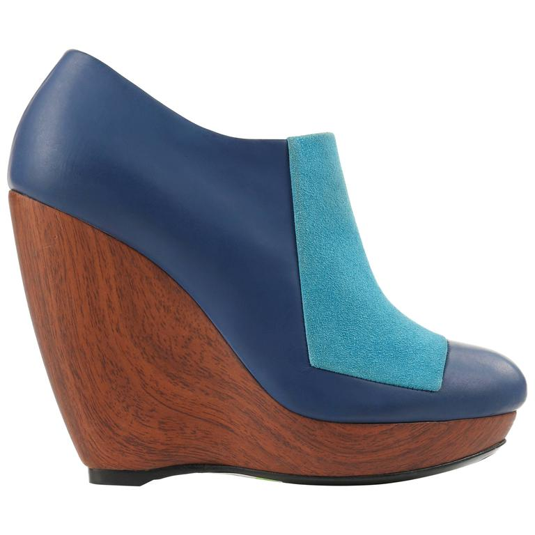 BALENCIAGA Light on Dark Blue Suede Colorblock Wooden Wedge Platform Heels