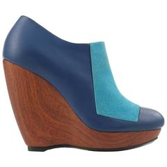 BALENCIAGA Light on Dark Blue Suede Colorblock Wooden Wedge Platform Heels