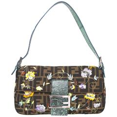 Fendi Zucca Floral Embroidered Baguette Bag