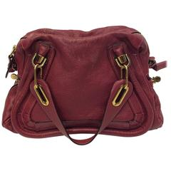 Chloe Raspberry Small Paraty Pebble Leather Bag