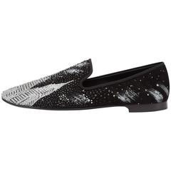 Giuseppe Zanotti New Men's Black Silver Crystal Loafers Smoking Slippers Box
