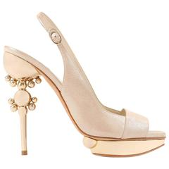 CHRISTIAN DIOR Resort 2008 Beige Metallic Gold Suede Sculpted Heel Platform Pump