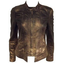 Remarkable Roberto Cavalli's Bomber Leather Jacket in Bronze Metal Color