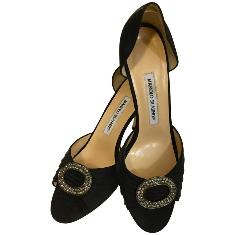Marvelous Manolo Blahnik Evening Shoes in Black Silk For ...