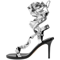 Isabel Marant New Runway Silver Leather Wraparound Sandals Heels in Box