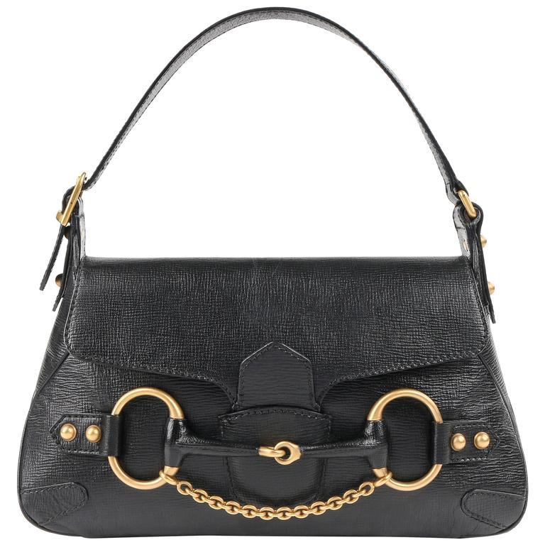 GUCCI A/W 2003 TOM FORD Black Genuine Leather Horsebit Shoulder Bag Purse