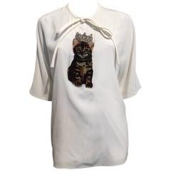 Dolce & Gabbana Cream Blouse With Brown Kitten Sz 46 (8 USA)