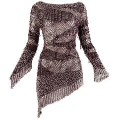 Julien Macdonald Autumn-Winter 2004 purple beaded knitted mini dress