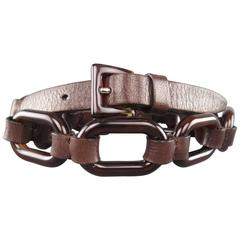 PRADA Size S Brown Tortoise Shell & Leather Chain Link Waist Belt