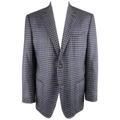 TOM FORD Sport Coat 48R Purple Check Plaid Wool Jacket / Blazer