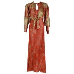 1930's Couture Metallic Floral Print Lame Bias-Cut Gown & Billow-Sleeve Jacket