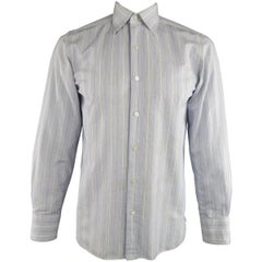 TOM FORD Size M Blue & White Solid Cotton Long Sleeve Shirt