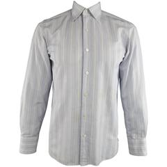 Men's TOM FORD Size M Blue & White Abstract Window Pane Cotton Long Sleeve Shirt