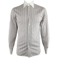 TOM FORD Size M White & Taupe Stripe Cotton COntrast Collar French Cuff Shirt