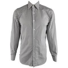 Men's TOM FORD Size M Grey & White Gingham Plaid Cotton French Cuff Shirt