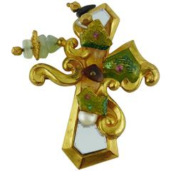 Christian Lacroix Vintage Baroque Mirrored Cross Brooch Pendant