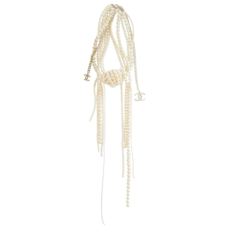 Chanel Pearl multi strand Waterfall Necklace Runway collection For Sale