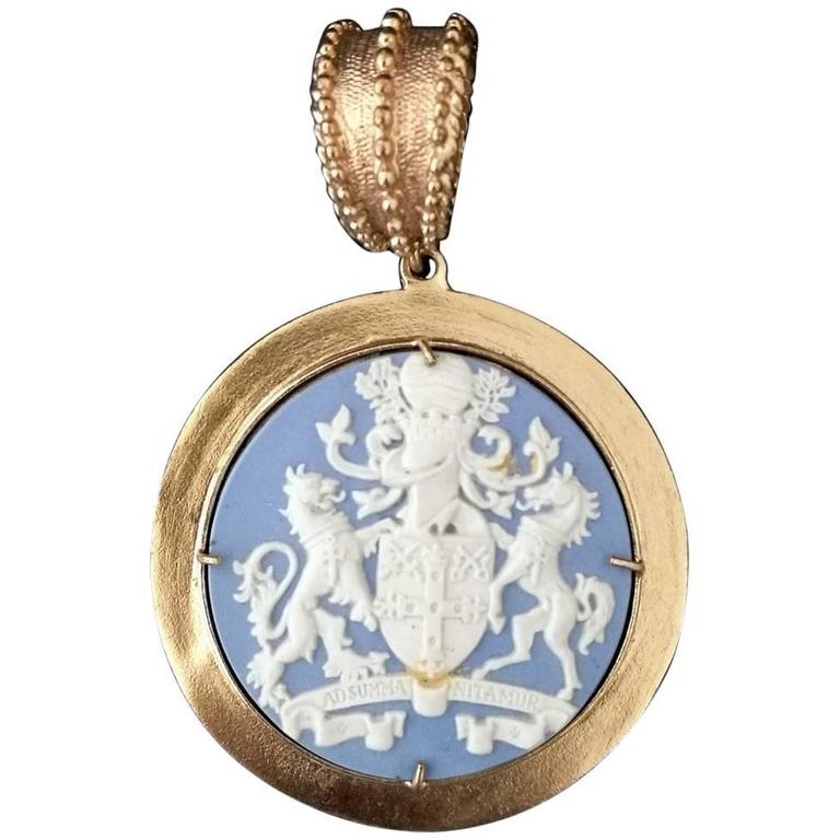 bronze pendant with vintage wedgwood insert for sale at