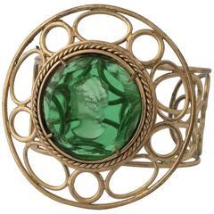 Bronze bracelet with Green Murano Glass insert