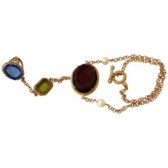 Bronze ring-bracelet with coloured Murano glass insert