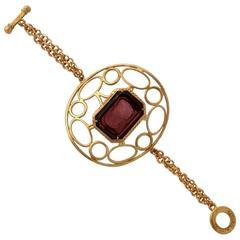 Bronze bracelet with engraved Murano glass insert