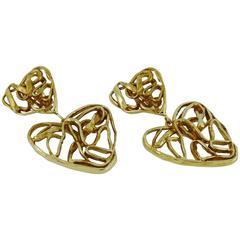 Yves Saint Laurent YSL Vintage Gold Toned Wire Heart Dangling Earrings