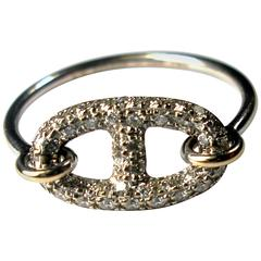 HERMES Ring Diamond and 18K White Gold Chaine D'Ancre