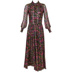 Stunning 1975  Vintage Chanel Numbered Haute Couture Silk Chiffon Dress no. 4550