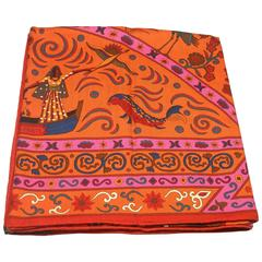 HERMES Cashmere Silk Peuple Du Vent Shawl 140 orange /BNIB