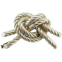 1950s Hermes Twisted Knot Silver Brooch