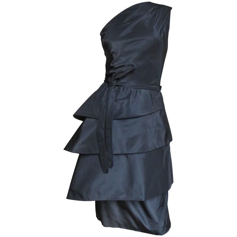 1950's New Vintage Sculptural Werle Silk Dress