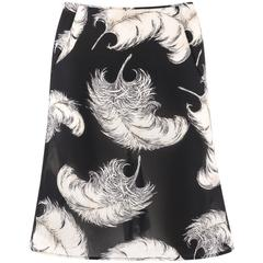 DOLCE & GABBANA A/W 1997 Black & White Feather Print Silk Chiffon Skirt