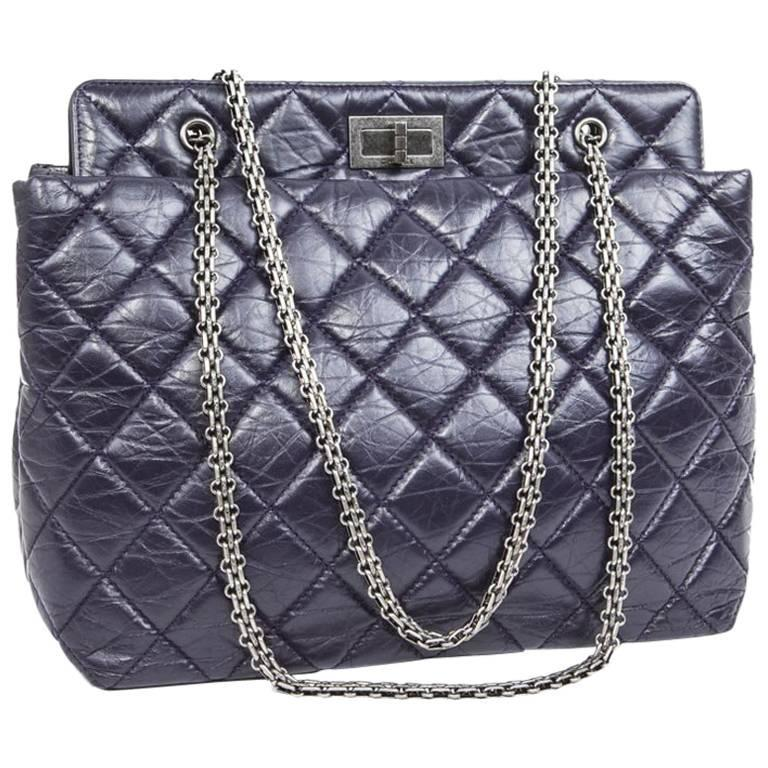 CHANEL Purple Quilted Leather Bag