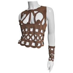 10990s Ferragamo Fabulous Suede Cutout Top and Cuffs