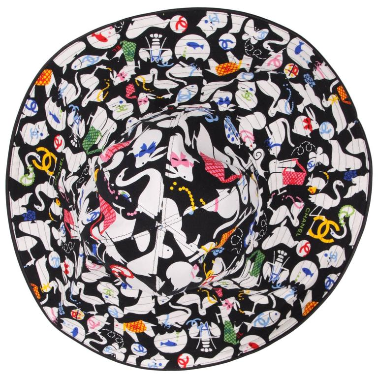Chanel Black & White Oversized Cotton Sun Hat - multi color