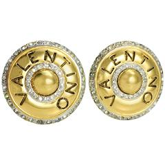 1980s Valentino Rhinestone Embellished Gilt Round Earrings