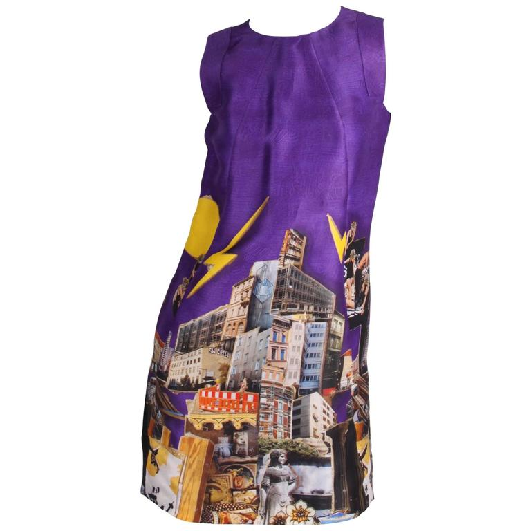 Versace & Tim Roeloffs Art Print Silk Dress - purple For Sale