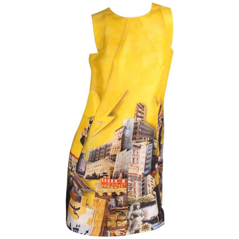 Versace & Tim Roeloffs Art Print Silk Dress - yellow 2008