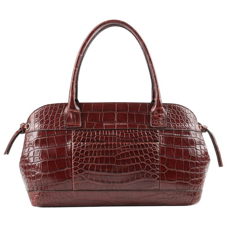BRUNELLO CUCINELLI Brown Genuine Crocodile Satchel Handbag Purse For Sale