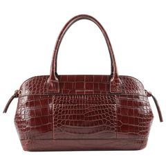 BRUNELLO CUCINELLI Brown Genuine Crocodile Satchel Handbag Purse