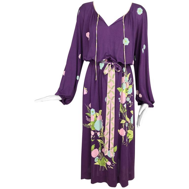 Vintage di Parisini of Santa Margherita aubergine silk print peasant dress 1970s