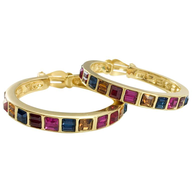 1980s Yves Saint Laurent Large Crystal Embellished Gold-Plated Hoop Earrings For Sale