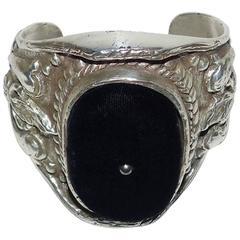 Yves Saint Laurent Silver Tone Black Velvet Baroque Cuff Bracelet
