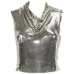 Gianni Versace Couture 90s Metallic Mesh Silver Top It.38