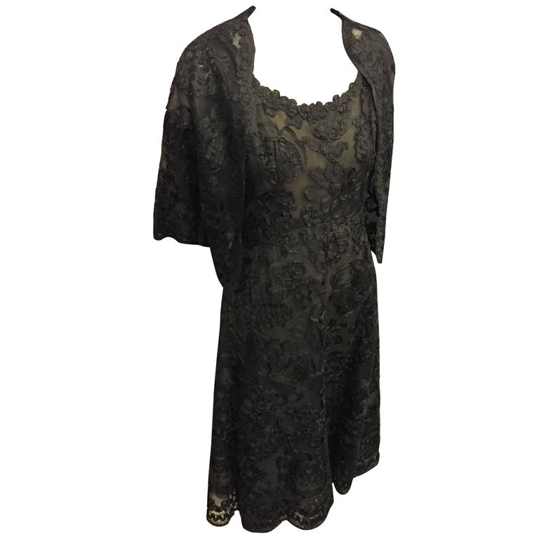 1961 Christian Dior Numbered Couture Black Lace Ensemble  For Sale