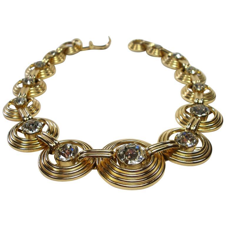 Fantastic Necklace Dior Gemany Vintage métal and crystal  1