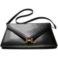 Hermès Lydies Clutch black box leather gold plated Hdw